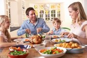 Family enjoying roast chicken around the dinner table